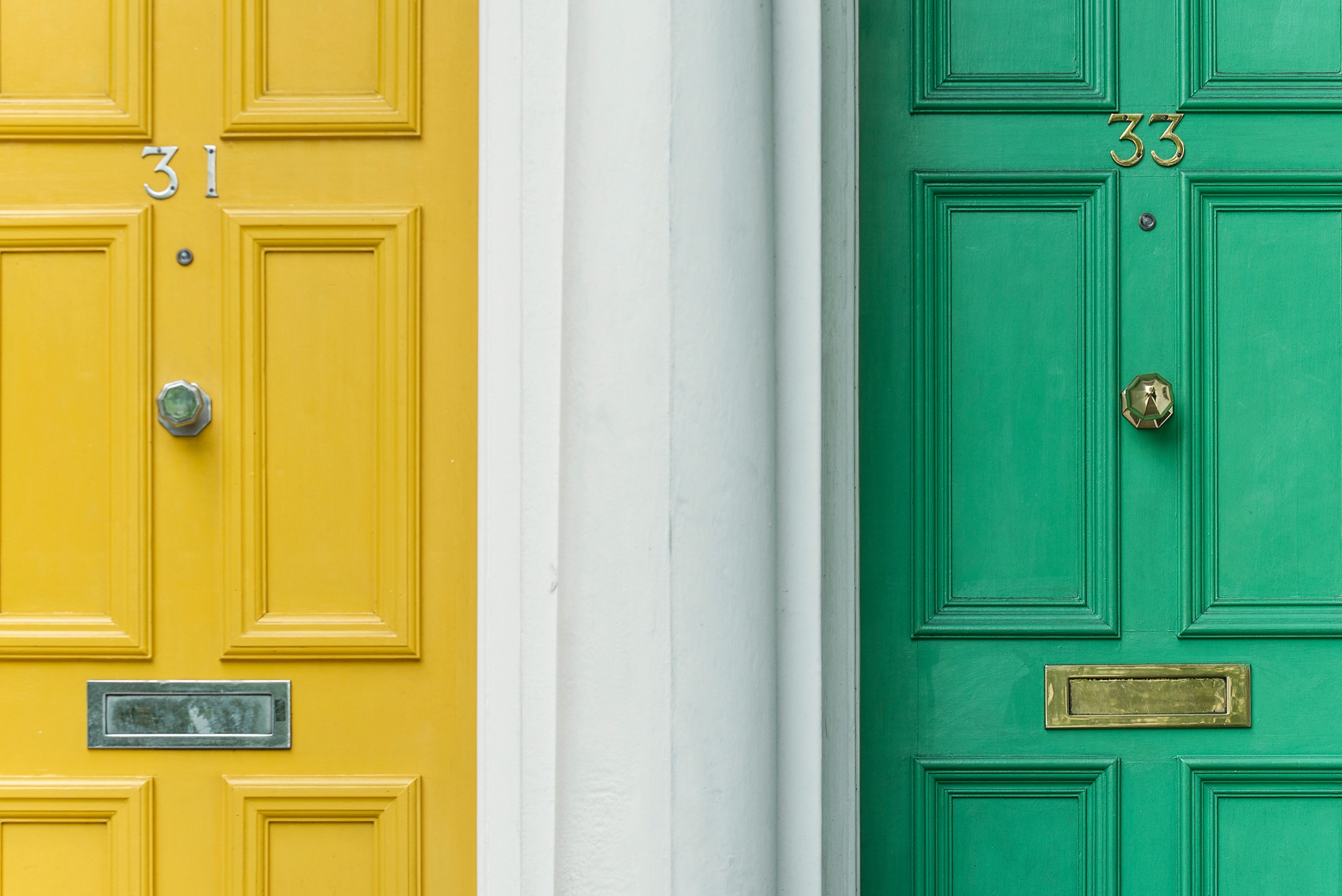 green and yellow front doors