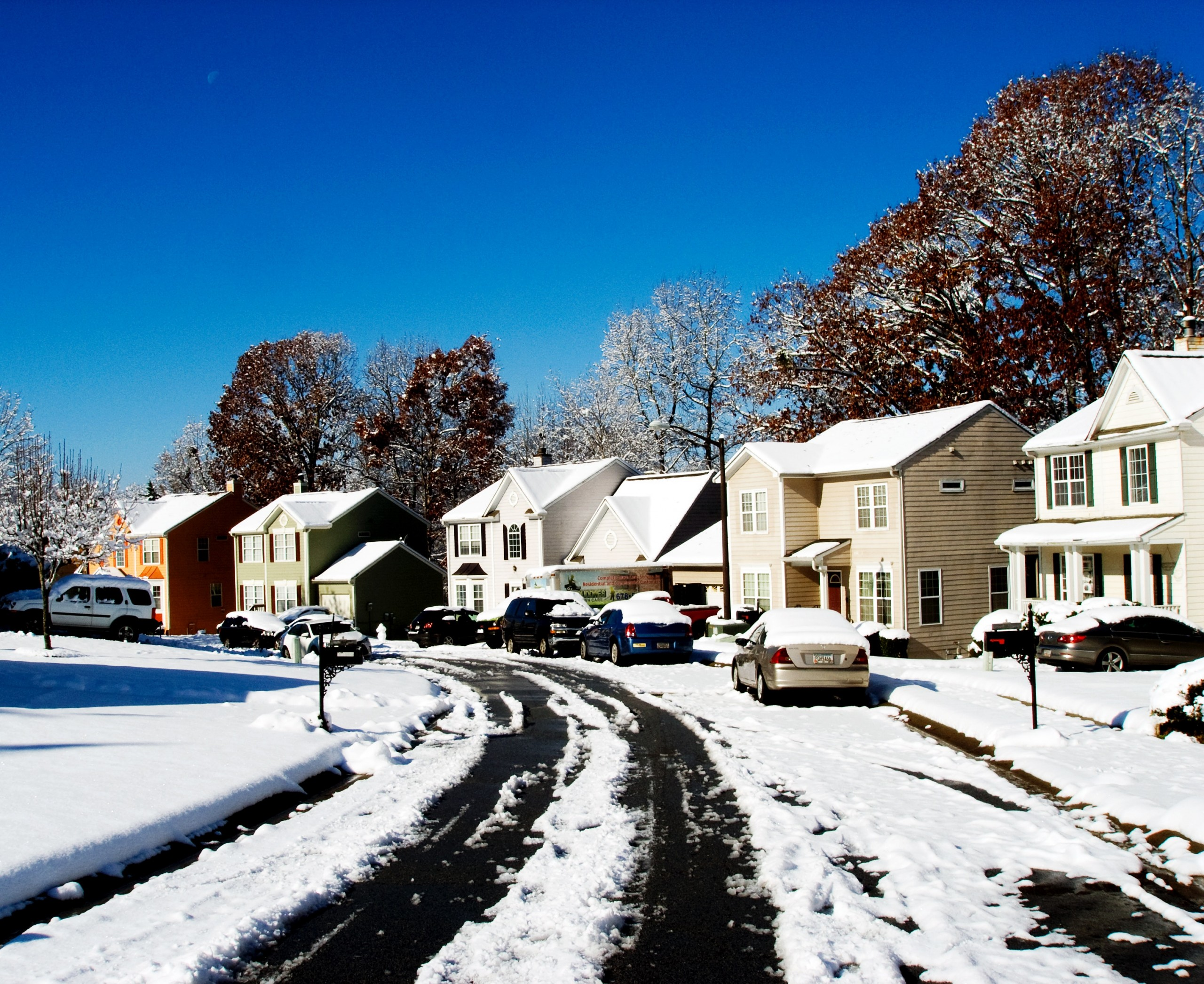 neighborhood covered in snow